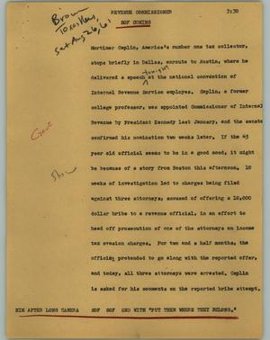 Primary view of object titled '[News Script: Revenue commissioner]'.