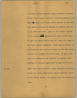 Primary view of object titled '[News Script: Lunch]'.