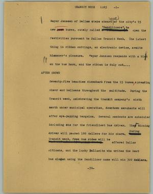 Primary view of object titled '[News Script: Transit week]'.