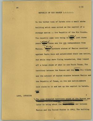 Primary view of object titled '[News Script: Republic of Rio Grande]'.