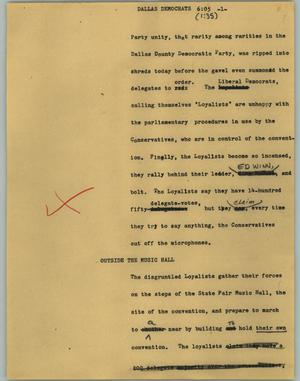 Primary view of object titled '[News Script: Dallas Democrats]'.