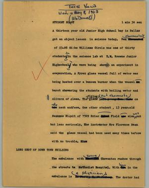 Primary view of object titled '[News Script: Student blast]'.