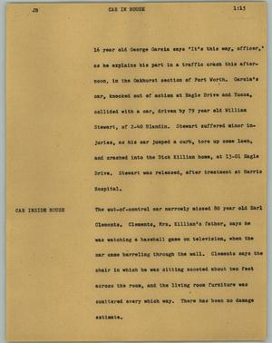 Primary view of object titled '[News Script: Car in house ]'.