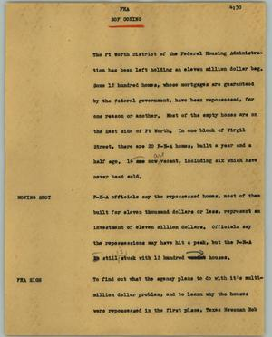 Primary view of object titled '[News Script: FHA]'.