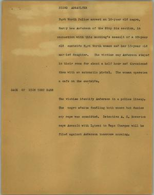 Primary view of object titled '[News Script: Negro assaulter]'.