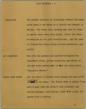 Primary view of object titled '[News Script: Gift exchange]'.