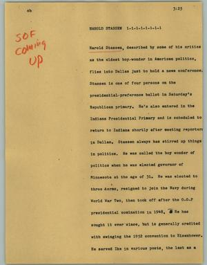 Primary view of object titled '[News Script: Harold Stassen]'.