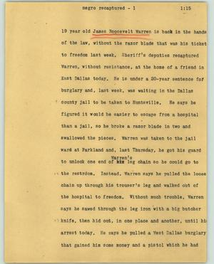 Primary view of object titled '[News Script: Negro recaptured]'.