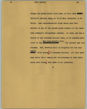 Primary view of object titled '[News Script: Coke contest]'.