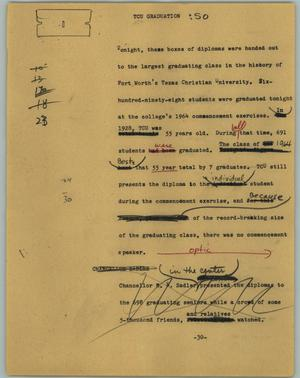 Primary view of object titled '[News Script: TCU graduation]'.