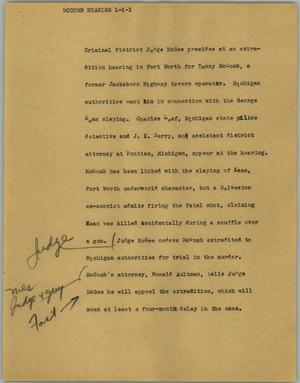 Primary view of object titled '[News Script: McComb hearing]'.