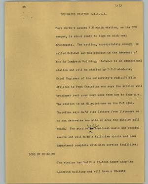 Primary view of object titled '[News Script: TCU radio station]'.
