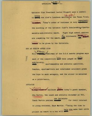 Primary view of object titled '[News Script: Optimists]'.
