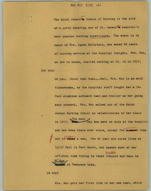 Primary view of object titled '[News Script: Mrs Mac]'.