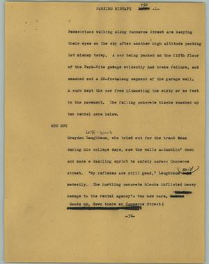 Primary view of object titled '[News Script: Parking Mishapz]'.