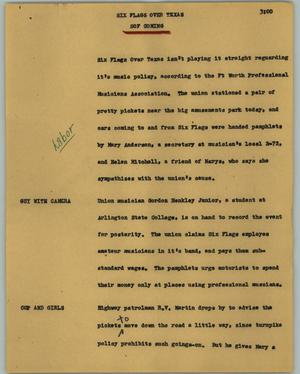 Primary view of object titled '[News Script: Six Flags Over Texas]'.