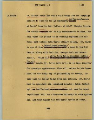 Primary view of object titled '[News Script: GOP Davis]'.