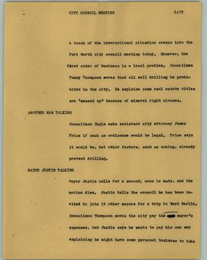 Primary view of object titled '[News Script: City council meeting]'.