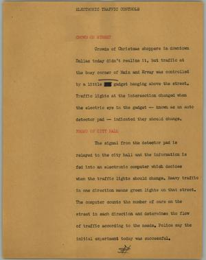 Primary view of object titled '[News Script: Electronic traffic controls]'.
