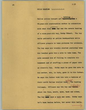 Primary view of object titled '[News Script: Child beating]'.