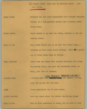 Primary view of object titled '[News Script: War monger story]'.