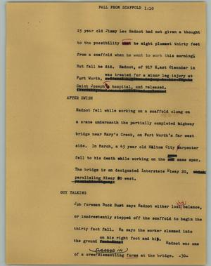 Primary view of object titled '[News Script: Fall from scaffold]'.