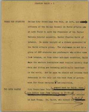 Primary view of object titled '[News Script: Charles Malik]'.
