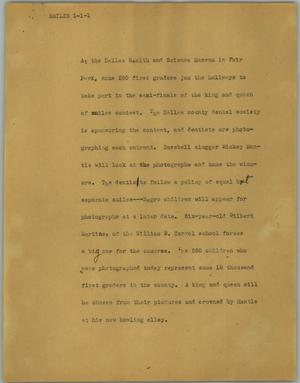 Primary view of object titled '[News Script: Smiles]'.