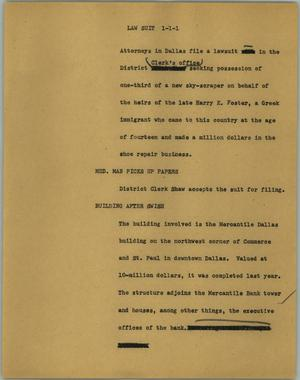 Primary view of object titled '[News Script: Law suit]'.