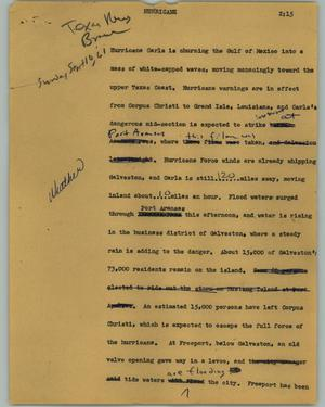 Primary view of object titled '[News Script: Hurricane]'.