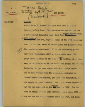 Primary view of object titled '[News Script: Judgeships]'.