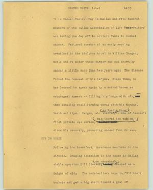 Primary view of object titled '[News Script: Cancer drive]'.