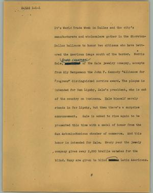 Primary view of object titled '[News Script: Zales]'.