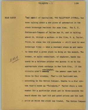 Primary view of object titled '[News Script: Telequote]'.