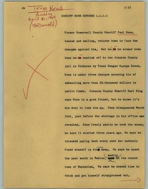 Primary view of object titled '[News Script: Sheriff Bone returns]'.