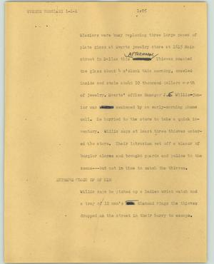 Primary view of object titled '[News Script: Everts burglary]'.