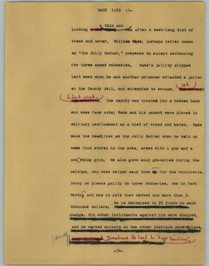 Primary view of object titled '[News Script: Wade]'.