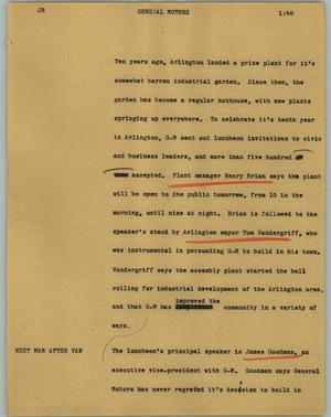 Primary view of object titled '[News Script: General Motors]'.