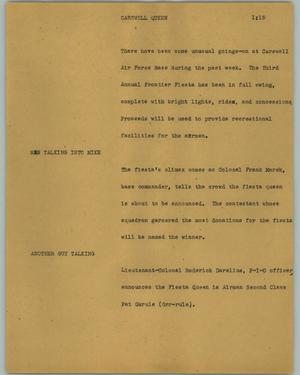 Primary view of object titled '[News Script: Carswell Queen]'.