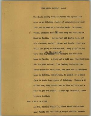 Primary view of object titled '[News Script: Town helps family]'.