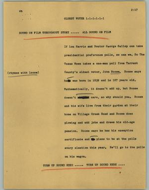 Primary view of object titled '[News Script: Oldest voter]'.