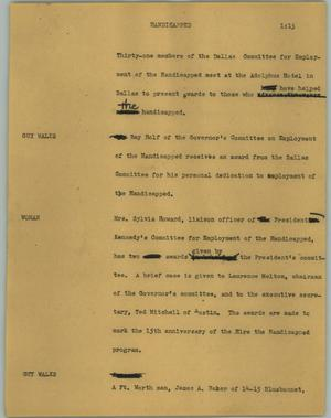 Primary view of object titled '[News Script: Handicapped]'.
