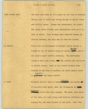 Primary view of object titled '[News Script: Dallas & Grand Prairie]'.
