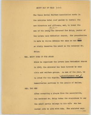 Primary view of object titled '[News Script: Shipp man of year]'.