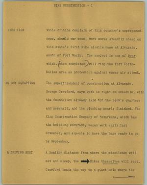 Primary view of object titled '[News Script: Nike construction]'.