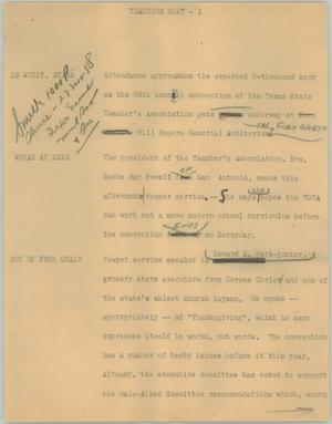 Primary view of object titled '[News Script: Teachers meet]'.