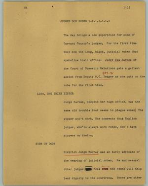 Primary view of object titled '[News Script: Judges don robes]'.