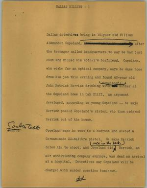 Primary view of object titled '[News Script: Dallas killing]'.