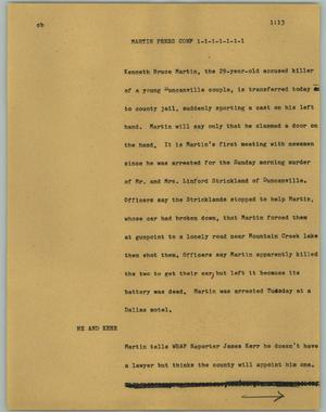 Primary view of object titled '[News Script: Martin Press Conf]'.
