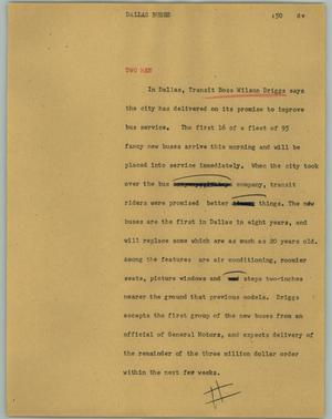 Primary view of object titled '[News Script: Dallas Buses]'.